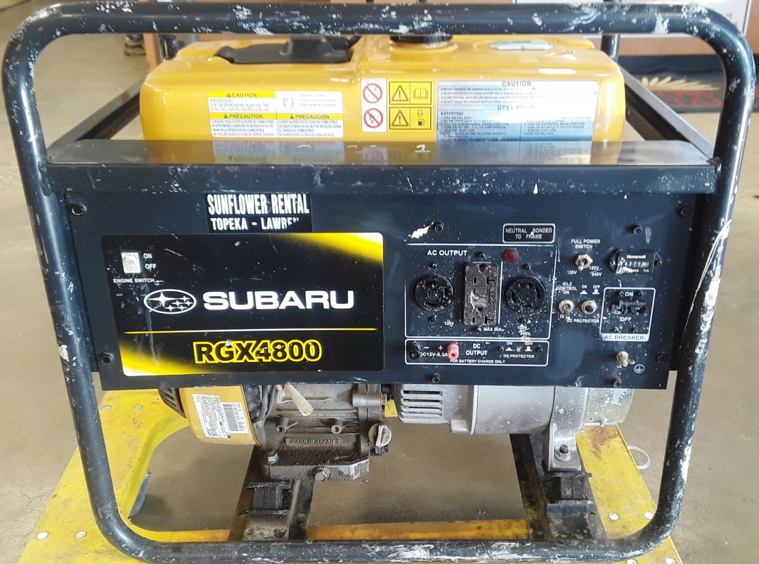 Subaru Generator RGX4800 for sale or rent sunflower equipment rentals topeka lawrence kansas blue springs missouri
