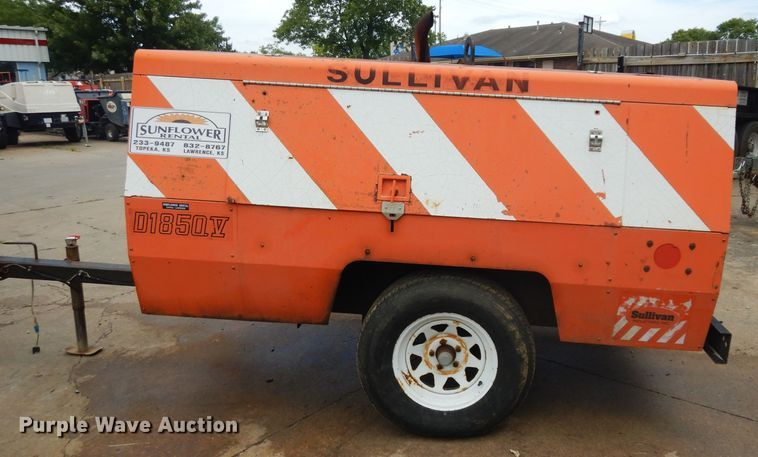 Sullivan D185QV air compressor for sale or rent sunflower equipment rentals topeka lawrence kansas blue springs missouri