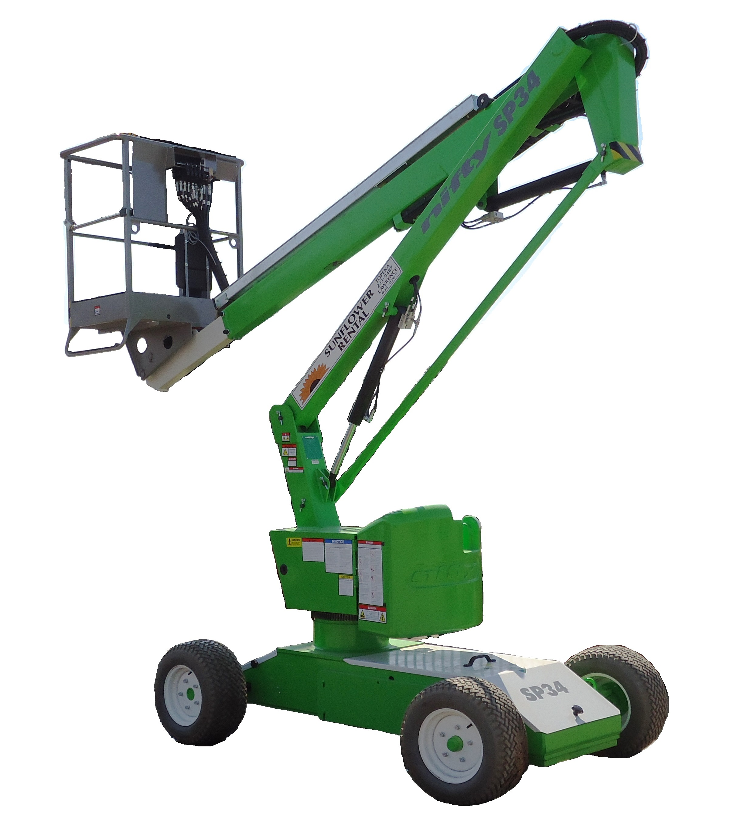 NiftyLift SP34N portable cherrypicker boomlift for rent sunflower equipment rental topeka lawrence blue springs kansas
